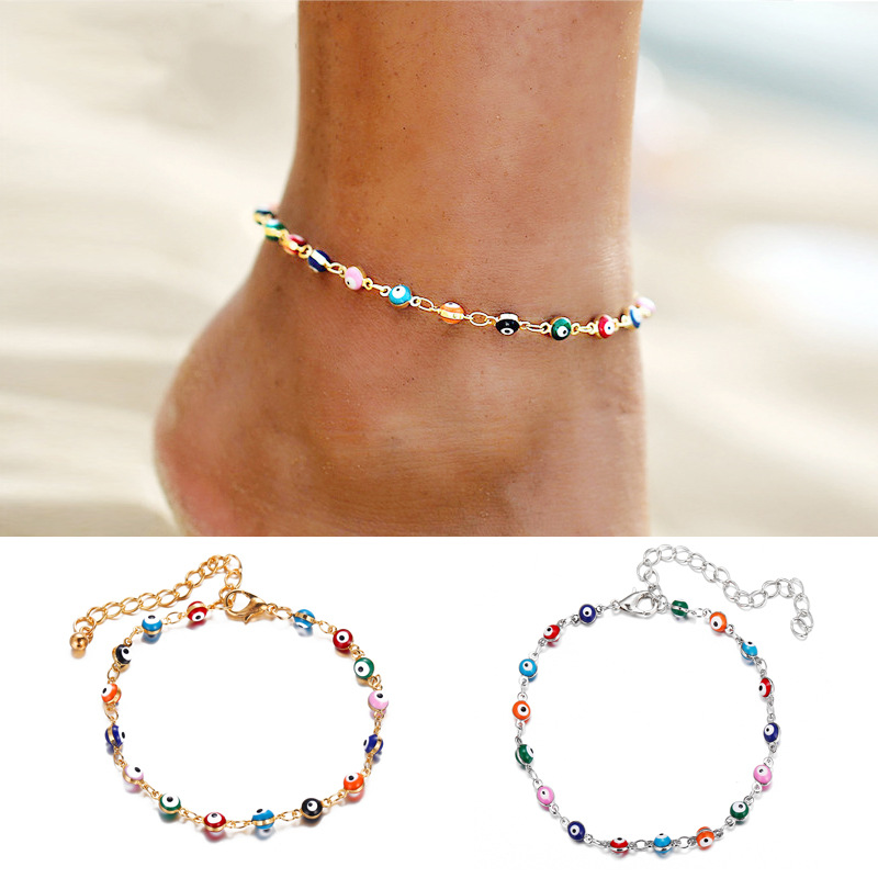 Bohemian Colorful Turkish Eyes Anklets for Women Gold Color Beads Summer Ocean Beach Ankle Bracelet Foot Leg Jewelry