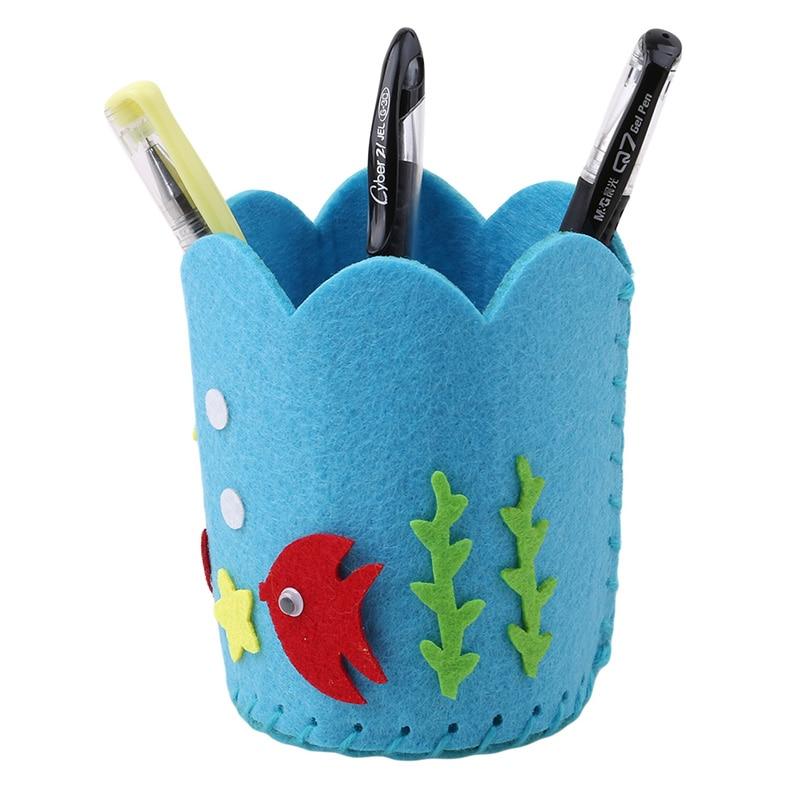 Lindo sostenedor de la pluma de costura de dibujos animados DIY hecho a mano pluma/pinceles contenedor titular rompecabezas niños artesanía juguete educativo 6 colores