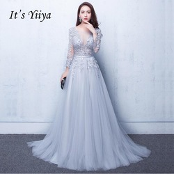 It's Yiiya New Three Quarter Illusion Backless Lace Up Flowers Elegant Evening Dress Floor Length Party Gown Evening Gowns LX048