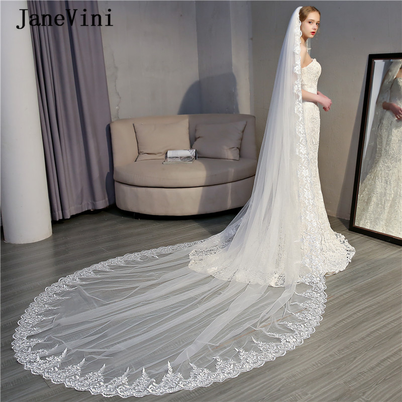 JaneVini Elegant Ivory Cathedral Long One Layer Bridal Veil with Comb Appliques Edge Tulle 3.5M Veils Women Wedding Accessories
