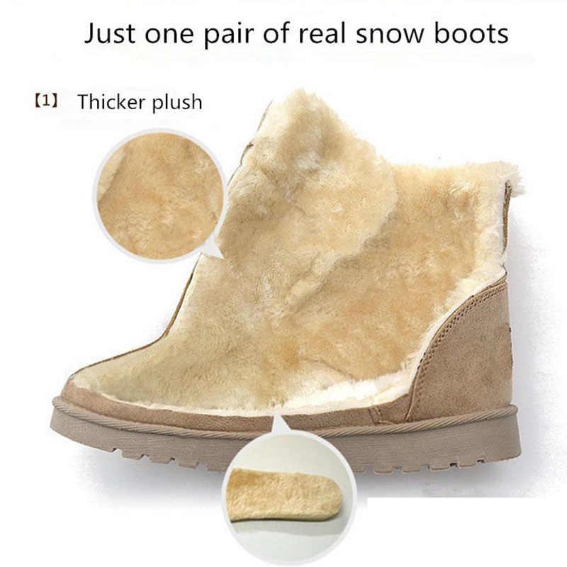 Vrouwen Laarzen Warme Snowboots 2019 Hakken Winter Laarzen Bont Pluche Binnenzool Enkellaars Voor Vrouwen Schoenen Winter Warm botas Mujer