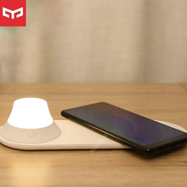 オリジナルyeelightワイヤレス充電器ledナイトライト磁気吸引のための急速充電サムスンのためのiphone xiaomi