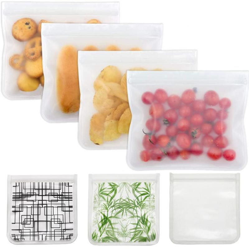 3 Pcs Food Storage Bag Kitchen Organizer Reusable Freezer Silicone Bag Ziplock Leakproof Top Fruits Lunch Box Refrigerator Bag image
