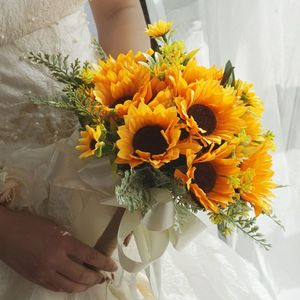 Image 4 - Artificial Bridal Wedding Bouquet Romantic Handmade Bright Sunflower Linen Rope Handle Satin Ribbon Church Party Home Decoration