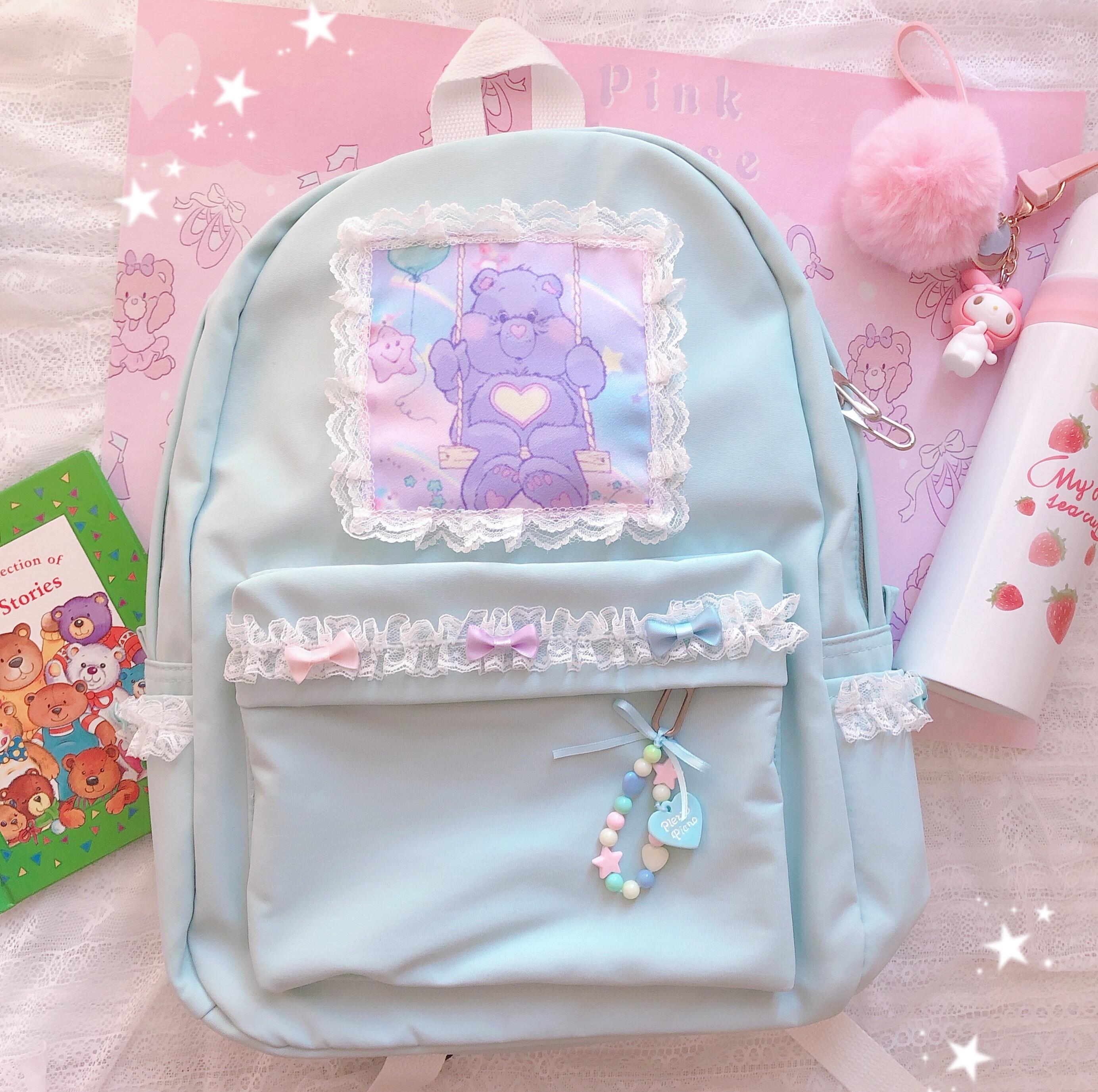 Student Young Girl Cute Bear Backpack Small Fresh Cartoon Bow Lace School Bag Ulzzang Harajuku Sof Girl Shoulders Bag Handbag