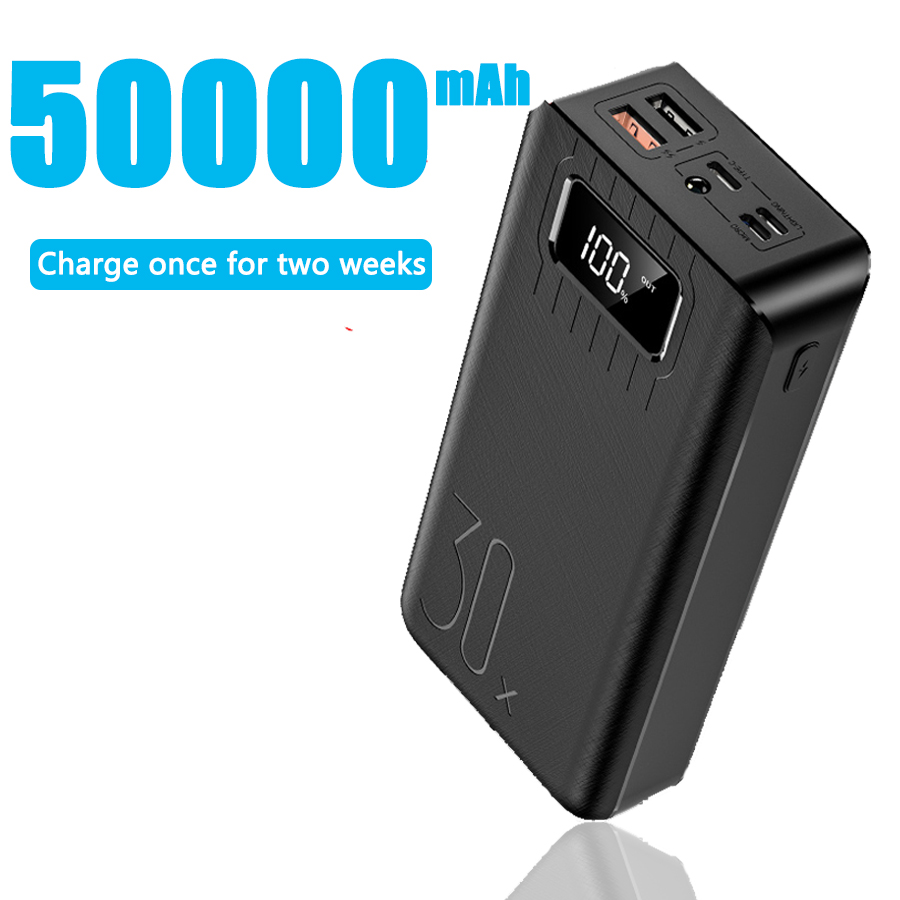 50000mah Power Bank External Battery PoverBank 2 USB LED Powerbank Type-c Portable Mobile Phone Charger For Apple  Xiaomi