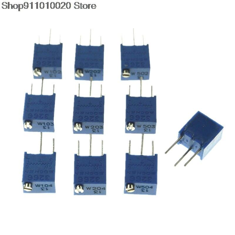 10PCS 3266W Adjustable Precision Potentiometer 1K 2K 5K 10K 20K 50K 100K 200K 500K 103 1M 101 201 501 100R 200R 500R 100 200 500