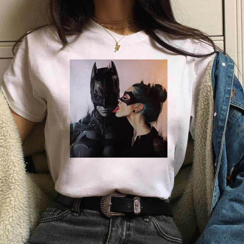 Lato kobiet T koszula Batman i Catwoman pocałunek koszulka moda kobieta dorywczo Harajuku cienki odcinek koszulki odzież