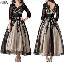 Кружевное платье для матери невесты черное до щиколотки с длинным