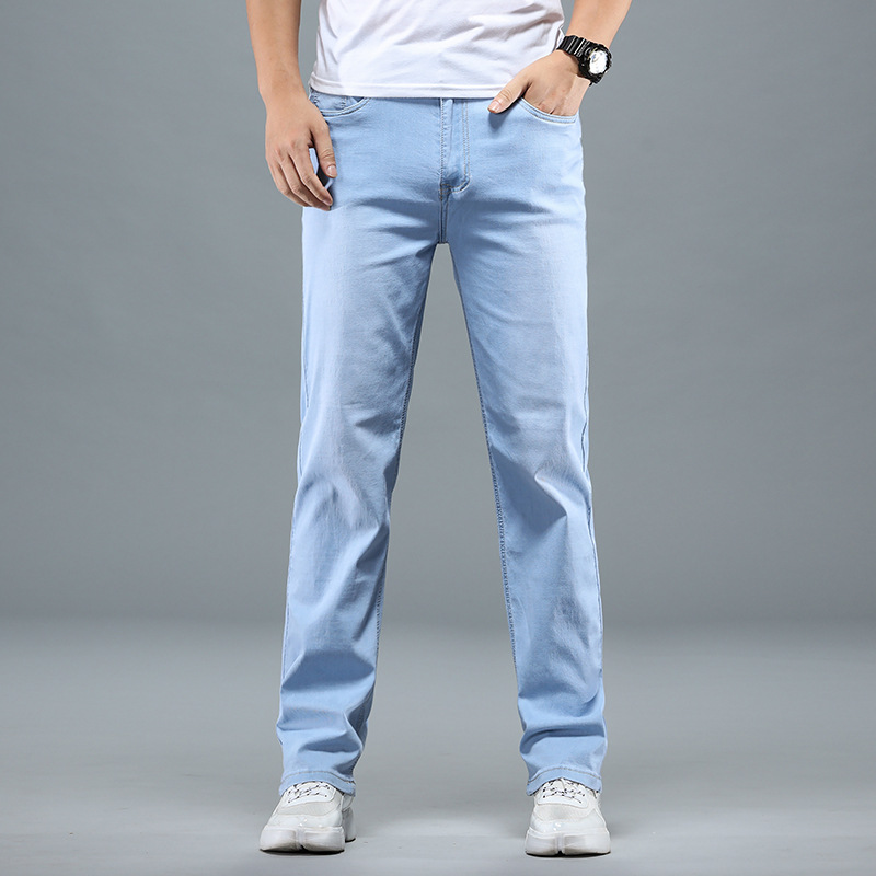 Autumn Jeans Men's Trousers Legs Ultra-Thin-Loose-Fit Business Casual Slim Fit Straight-Cut Trend Long Pants Summer Spring And A