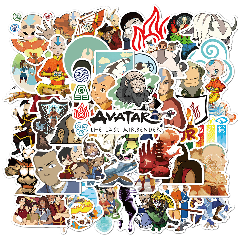 50 sztuk Anime Avatar ostatni Airbender naklejki wodoodporne DIY deskorolka gitara telefon Laptop fajne kreskówki naklejka naklejki zabawki dla dzieci