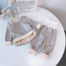 Pajamas Clothing Children's Pants Sleepwear Winter Cotton Striped for Warm Boys