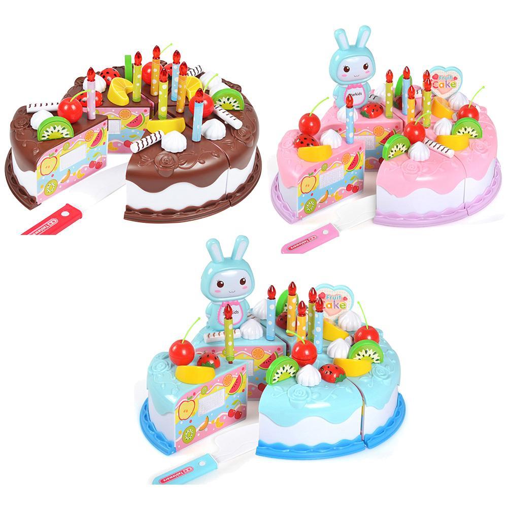 Groovy Newest Diy Pretend Play Fruit Cutting Birthday Cake Kitchen Food Personalised Birthday Cards Veneteletsinfo