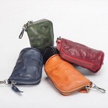 YIFANGZHE Keychain Leather Case, Genuine Cowhide Women /Men Keys Holder, Money Wallet Pouch Case 1 key Holders
