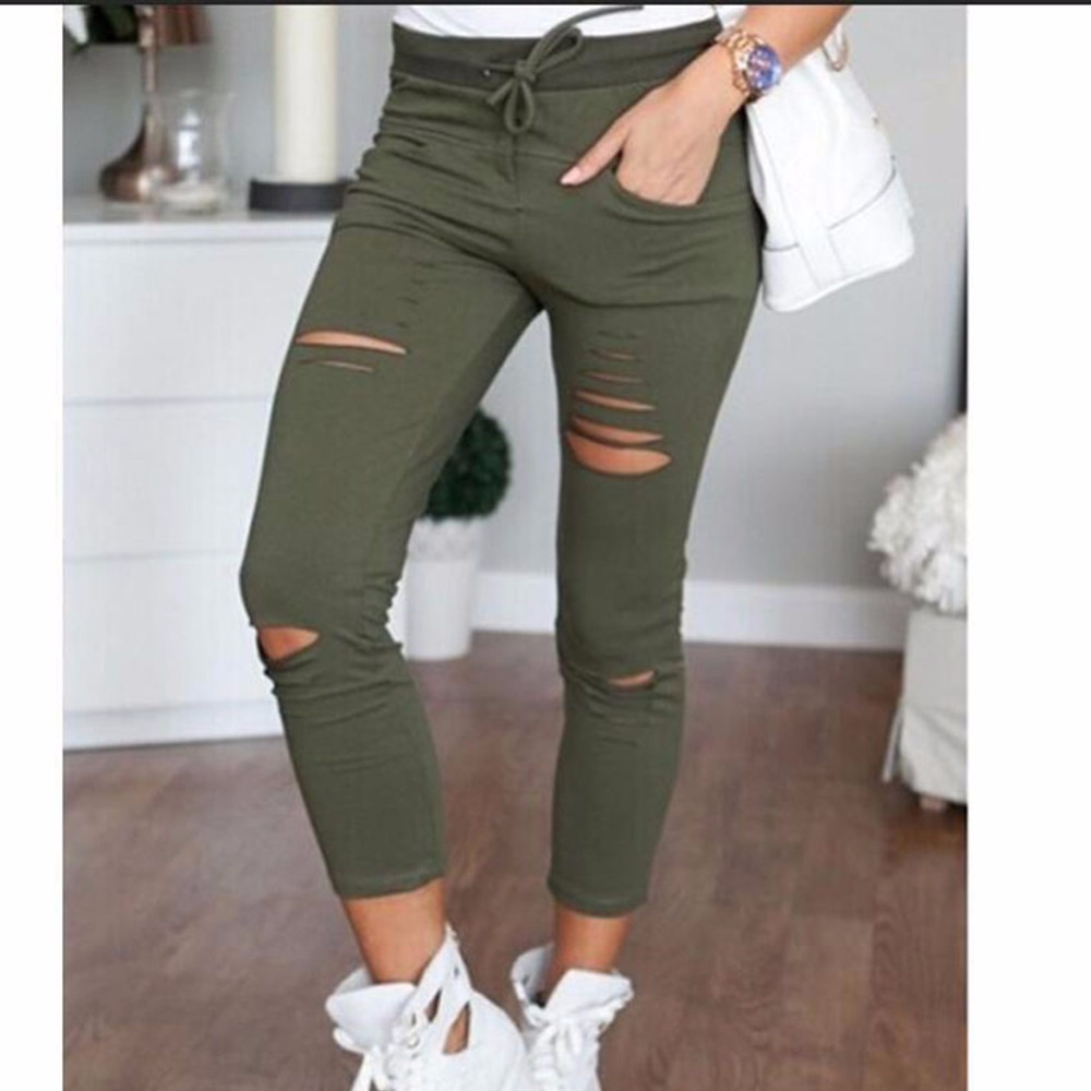 New Fashion Hole Women Jeans Hole Pencil Pants Skinny Nine Points Pants High Waist Stretch Jeans Slim Pencil Trousers Capris