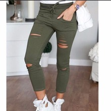 New Fashion Hole Women Jeans Hole Pencil Pants Skinny Nine Points Pants