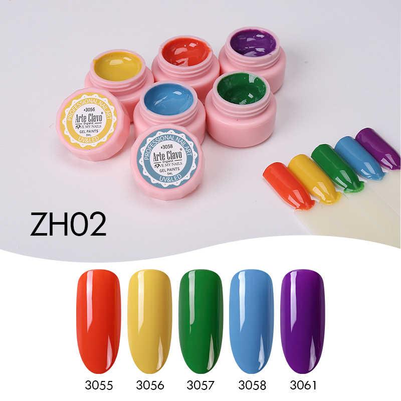 Seni Clavo 5 Ml Warna Gel Cat UV Gel Nail Polish Rendam Off Nail Lacquer Nail Art 72 Warna GLITTER kuku Rainbow Lukisan Gel