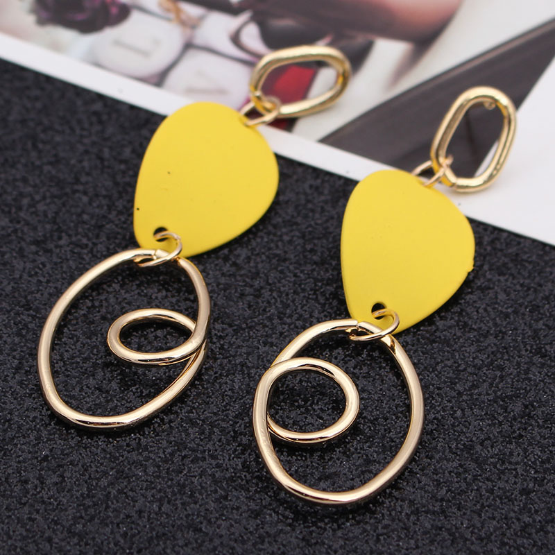 ES736 Fashion Circle Geometric Metal Earrings For Women Jewelry Personality Hanging Long Drop Earrings brincos pendientes mujer-in Drop Earrings from Jewelry & Accessories on AliExpress
