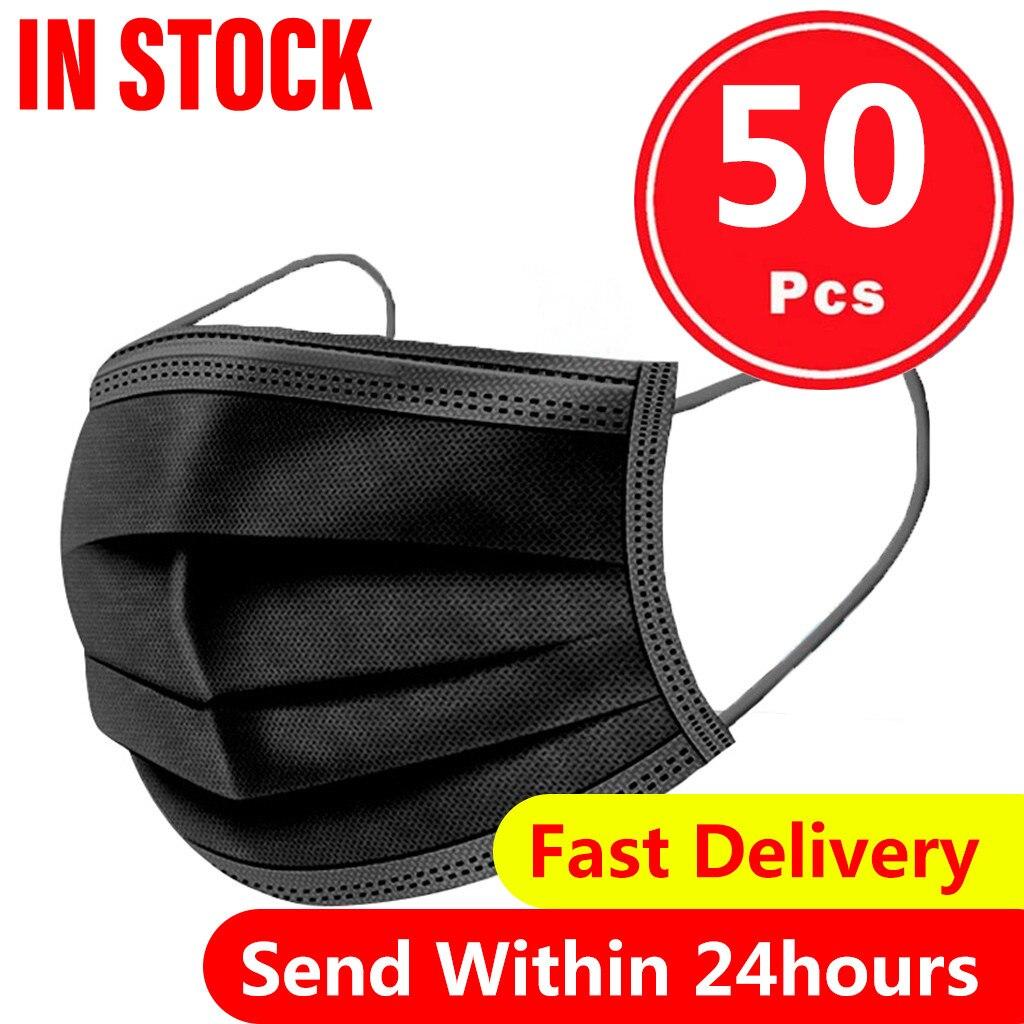 Masque de protection jetable noir pour adulte, 50 pièces, Anti poussière, anti gouttelettes, 3 couches filtrantes, boucles auriculaires, Non tissé |