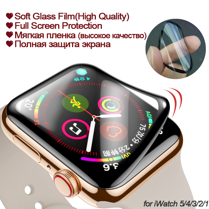 Screen Protector For Apple Watch 5/4 38 40 44 42mm 3D Full Curved PET Soft Tempered Film For Iwatch 3 2 1 Full Glue| (Not Glass)