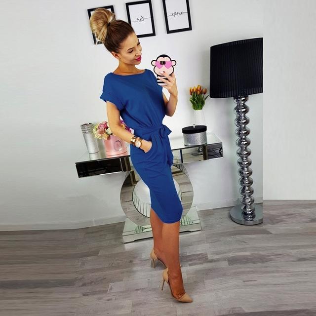 Women Summer Dress Casual Pocket Bow Belt Knee-length Part Dresses