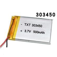 3.7 v 500mah 303450 bateria de lítio 3.7 volts li-polímero lipo bateria para controle remoto fone de ouvido mini câmera led luz