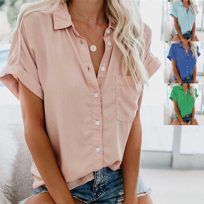 Thương Hiệu Áo Phụ Nữ Quần Áo Công Sở Mùa Hè Nữ Big Size Áo Thun Cao Cấp 2020 Ngắn Tay In Hình Áo Blusa Feminina