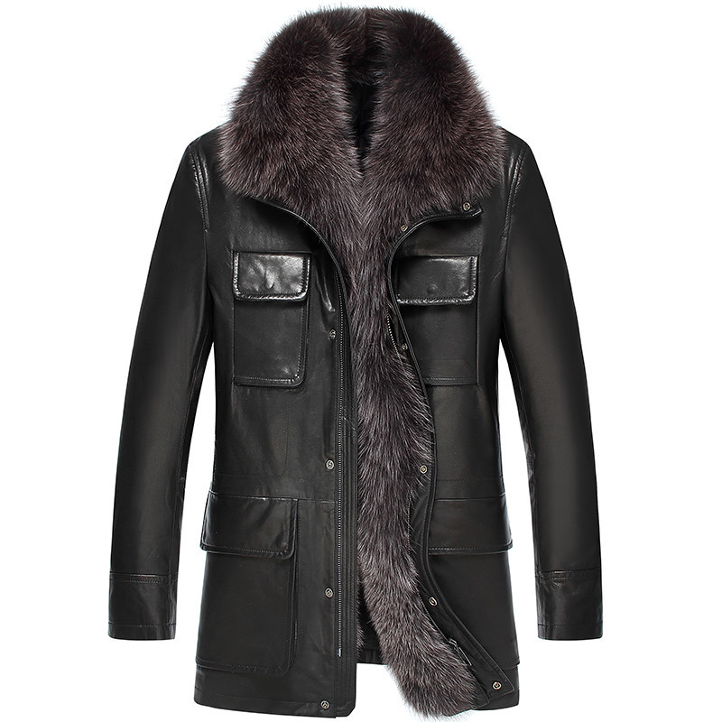Leather Jacket Winter Jacket Fox Fur Collar Jacket Men Genuine Goatskin Coat Plus Size Chaqueta Hombre LSY069326 MY1366