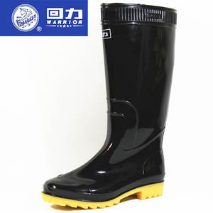 Genuine Product Warrior Rain Shoes 807 Men-Boots Rain Boots PVC Anti-slip Rubber Sole Labor Safety Black And White with Patter