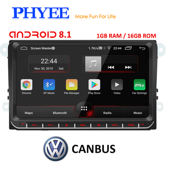 PHYEE 2Din Radio Android 8.1 Autoradio GPS Navi CANBUS 9 inch Car Multimedia Player for VW Golf 5/6 Polo Passat B7 B6 Skoda Seat image