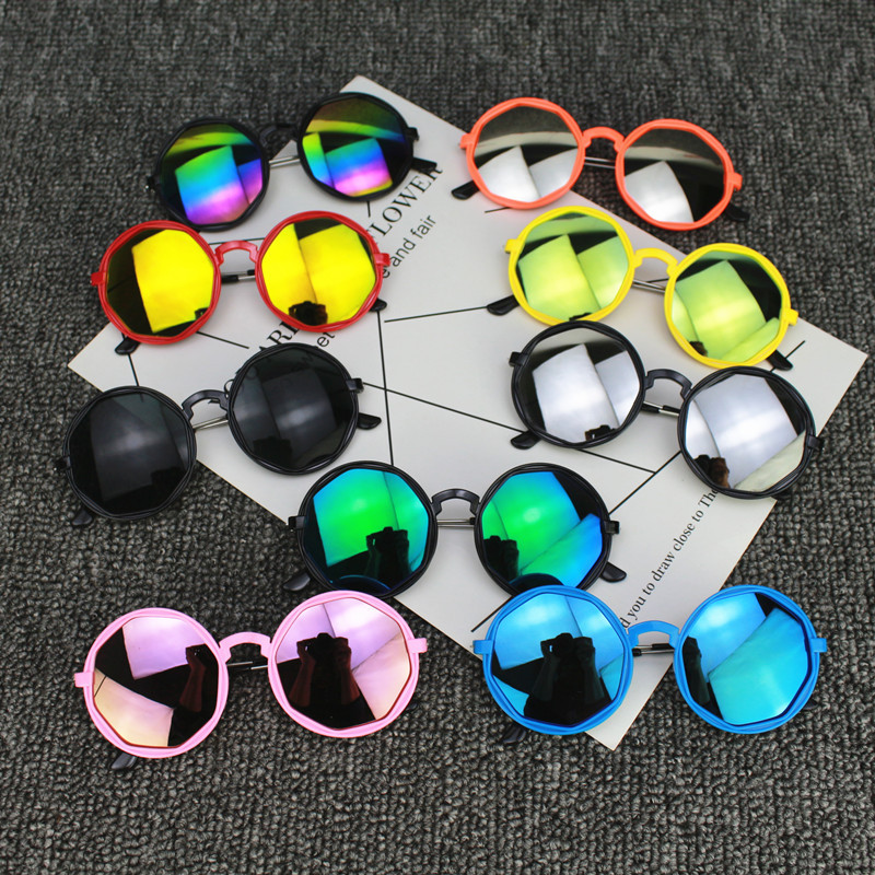 Korean Fashion Kids Children Colorful Sunglasses Round Reflective Glasses Baby Children UV400 Sport Sunglasses Toys Accessories
