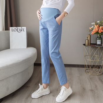 1809# Spring Thin Cotton Linen Maternity Pants Casual Belly Pants Clothes for Pregnant Women 9/10 Length Pregnancy Trousers цена 2017