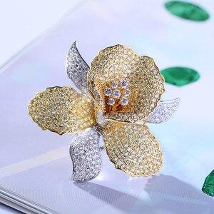 Image 5 - AAA luxo Zircão Orquídea De Cristal Rhinestone Flor Broche Pin Natal Do Vintage Pins e Broches para As Mulheres Acessórios de Jóias