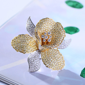 Image 5 - Luxury AAA Zircon Rhinestone Flower Brooch Christmas Pin Vintage Crystal Orchid Pins and Brooches for Women Accessories Jewelry