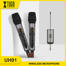 XTUGA Wireless Microphone,UHF Wireless Dual Handheld Dynamic Mic System Set with Rechargeable Receiver for Karaoke Speech Church