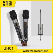 Xtuga microfone sem fio, uhf sem fio dupla handheld sistema de microfone dinâmico conjunto com receptor recarregável para karaoke discurso igreja