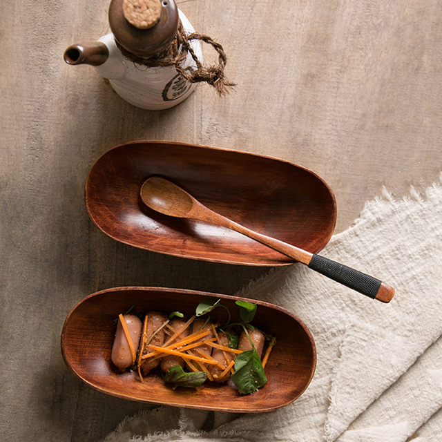 Japanese Style Dried Fruit Dish Solid Wood Tableware Food Serving Tray Desserts Snack Dishes Household Plate Dinnerware 5