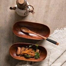Plato de frutas secas de estilo japonés, vajilla de madera sólida, bandeja para servir alimentos, postres, platos para aperitivos, placa doméstica