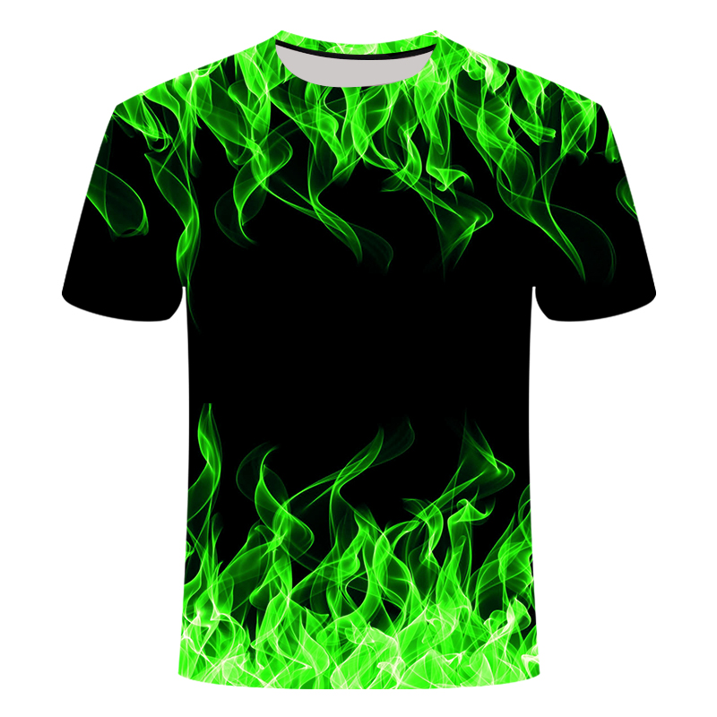 2020 New 3d T Shirt Black Tee Casual Top Camiseta Streatwear Short Sleeve Cloth Blue Red Flaming Summer Tshirt Men's T-shirt
