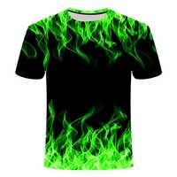 3d t-shirt Tee Casual Top Camiseta Preta Streatwear Flamejante Pano Vermelho Azul de Manga Curta 2019 Moda verão tshirt dos homens camisa de t