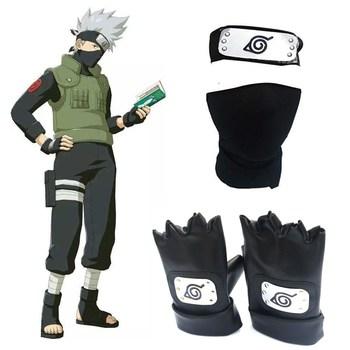 Anime Naruto Hatake Kakashi maska na twarz z opaską rękawice pakiet broni rekwizyt Cosplay tanie i dobre opinie wow chan CN (pochodzenie) Broń Armor Unisex spandex Kostiumy
