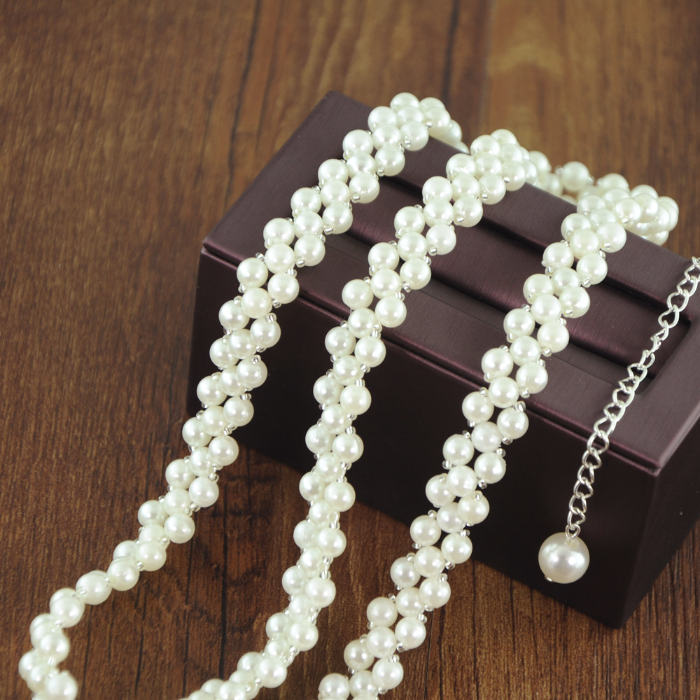 TRiXY S398 Pearls Chain Belt For Woman Beaded Pearls Belts For Dresses Pearl Belts For Ladies Girls Sash Belt Plain Bridal Belt