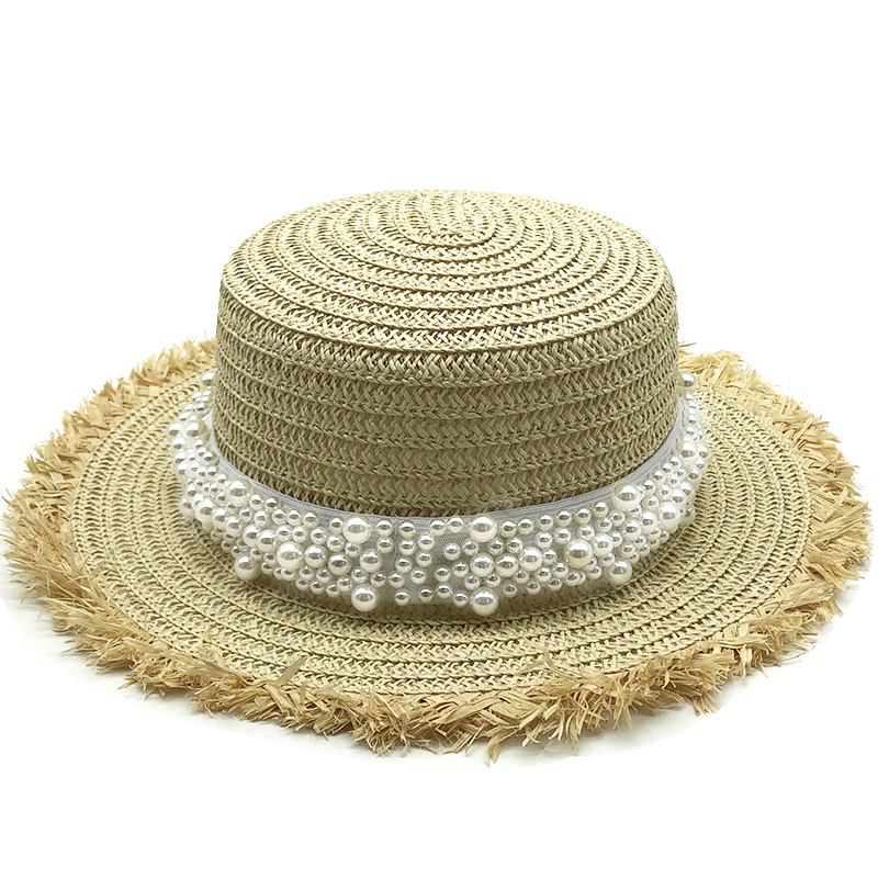 Cute Flat Straw Hat Women Hat Trip Caps Leisure Ribbon Band Sun Hats Beige Breathable Fashion Girl Hat