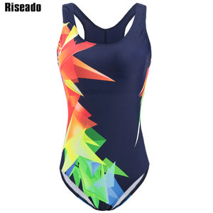 Image 2 - Riseado Competition Swimwear Women 2020 One Piece Swimsuit Racer Back Sport Swimming Suits for Women Digital Print Bathing Suits