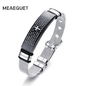 Image 1 - Bracelets en mailles pour la prière du seigneur chrétien, en acier inoxydable, de croix ajustable, couleur argent, bijoux masculins