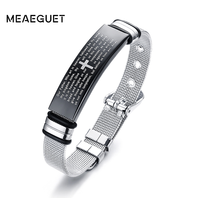 Christian Lords Prayer Keeper Mesh Bracelets For Slide Stainless Steel Adjustable Jesus silver color Cross Bangle Male Jewelry