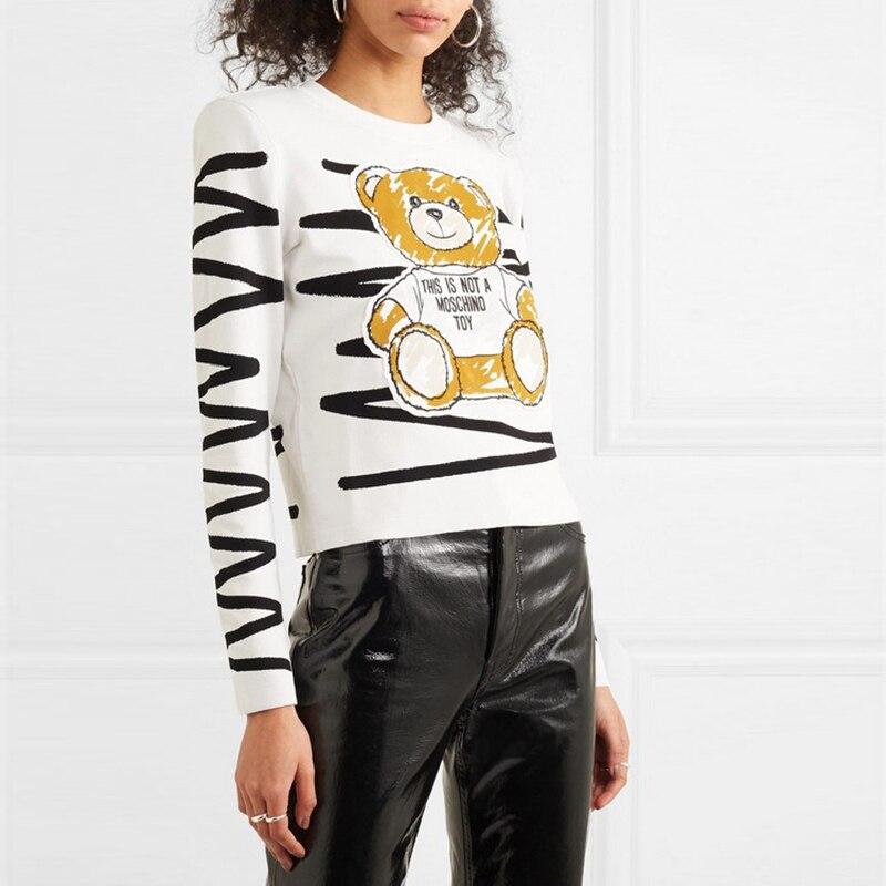 LUKAXSIKAX 2019 New Autumn Winter Women Sweater High-end Custom Graffiti Bear Runway Sweater Loose Knitted Pullover Sweater