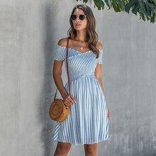 Summer Casua Striped Dress Women Cotton Short Sleeve V Neck Above Knee Mini