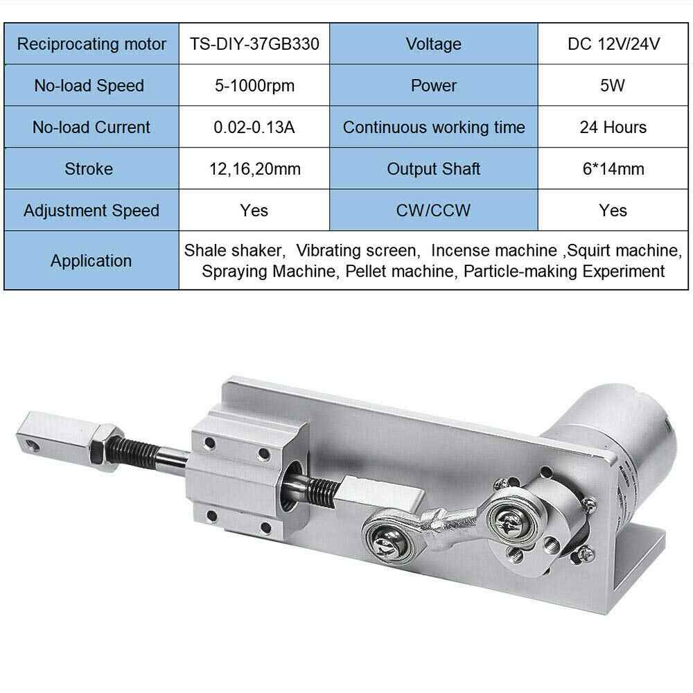 330l 소형 diy 디자인 dc 기어 모터가있는 왕복 운동 선형 액추에이터 12 v 24 볼트 스트로크 12/16/20mm 조정 가능 5 ~ 1000 rpm