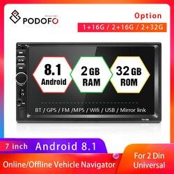 Podofo Авторадио 2 Din автомобильное радио 7 HD сенсорный экран Аудио Стерео Bluetooth видео MP5 мультимедийный плеер камера заднего вида
